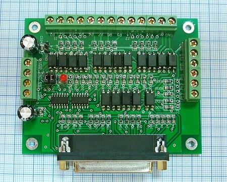 Коммутационная плата DB25 6-ть осей (вид сверу)