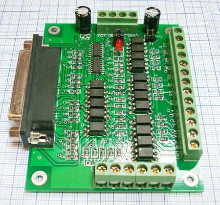 Коммутационная плата DB25 6-ть осей (вид слева)