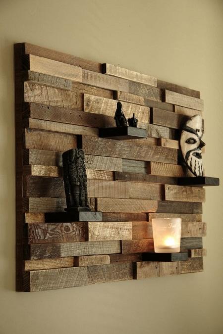 Настенное панно из деревянных брусков