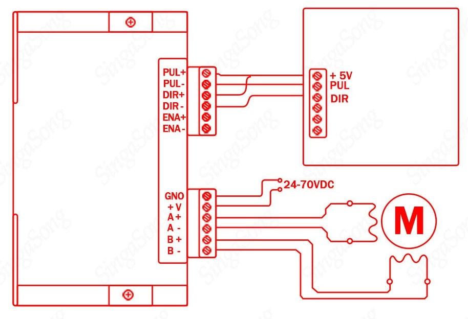 Схема подключения драйвера шагового двигателя Dm542